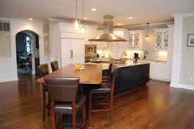 classic custom kitchen island decorated with hanging lamp combined