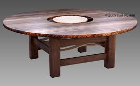custom made round dining table zebrawood walnut curly maple by