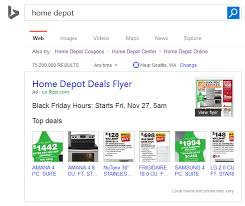 home depot black friday time open bing ads launches new black friday flyer ads in search results