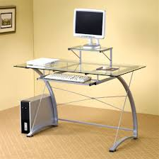 Ikea Computer Desk With Hutch by Furniture Fetching Glass Top Office Computer Desk In Silver Metal