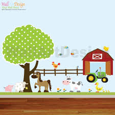 vinyl wall decals farm set tree with zoom