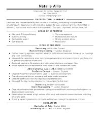 Writing A Summary For Resume Secretary Resume Example Classic Professional Summary