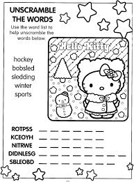 xmas coloring pages hello kitty xmas activity page word scramble