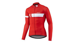 red cycling jacket mens performance thermal cycling jersey with long sleeves in a