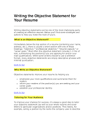 Writing A Summary For Resume Resume Objective Statements Career Change Resume Objective