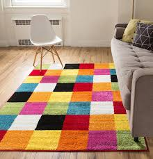 Multi Colored Bathroom Rugs Amazon Com Well Woven Squares Soft Multi Geometric Accent Area