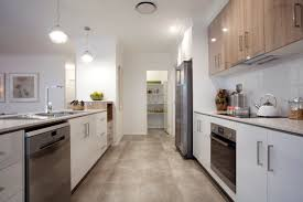 great parallel kitchen design with walk in pantry at the end