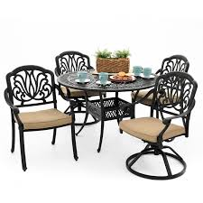 5 Pc Patio Dining Set - rosedown 5 piece cast aluminum patio dining set with 2 swivel