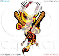 bats images clip art clipart fiery baseball with crossed bats royalty free vector