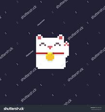 halloween pixel backgrounds pixel art maneki neko kitten isolated stock vector 535463758