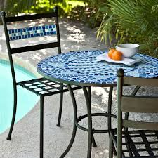 Patio Furniture Set Outdoor 3 Piece Aqua Blue Mosaic Tiles Patio Furniture Bistro Set