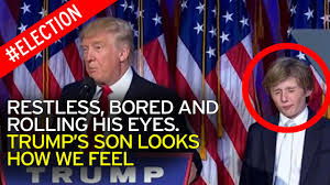 Donald Trump     s    year old son Barron      looks how we feel      as he tries to stay awake during victory speech   Mirror Online Mirror