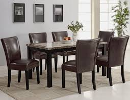 carter dark brown wood and marble dining table set steal a sofa