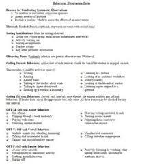 Description of Time Sampling Behavior Observation  Cover Sheet  Pinterest