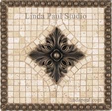 tribeca metal and stone backsplash mosaic tile medallion