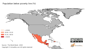 Centro America Map by North And Central America Population Below Poverty Line By