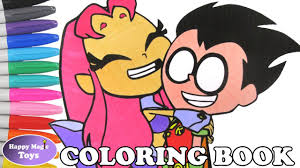 teen titans go starfire and robin coloring book ttg coloring page