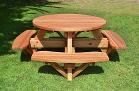 Building Plans For Picnic Table Bench by Round Wooden Picnic Table With Attached Benches
