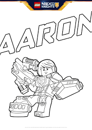 aaron with shield colouring page activities nexo knights