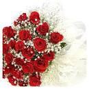 ดอกกุหลาบสีแดงช่อใหญ่โบว์สีขาว ...