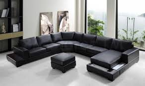 Black Leather Couch Living Room Ideas Furniture Fresh Modern Black Leather Sectional Couches On White