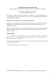 Business Continuity And Disaster Recovery Plan Template Example Business Continuity Plan