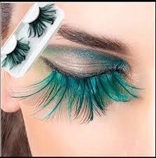 colorful feather false faux eyelashes long costume halloween party