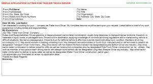 Trailer Truck Driver Application Letter Sample Career Cover Letter TRAILER TRUCK DRIVER APPLICATION LETTER SAMPLE