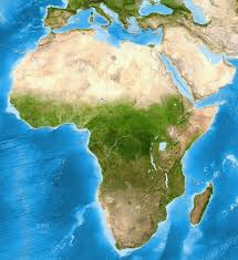 Physical Map Africa by Africa Satellite Image Giclee Print Enhanced Physical