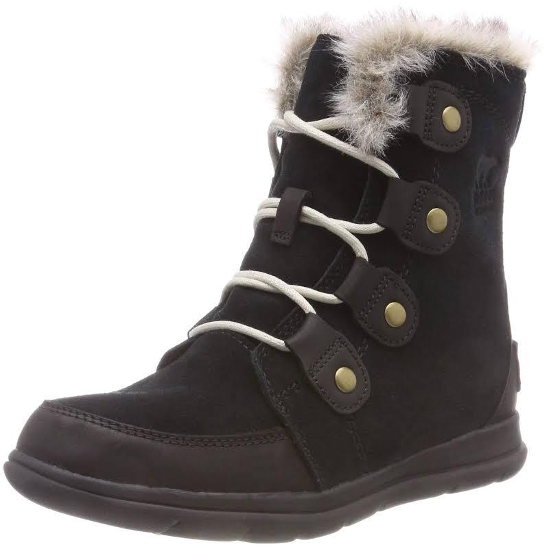 Sorel Explorer Joan Black / Dark Stone High-Top Leather Snow Boot 7M