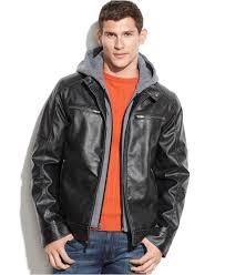 men s moto jacket guess hooded faux leather moto jacket in black for men lyst