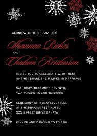 snowflakes winter wedding invitation set christmas black