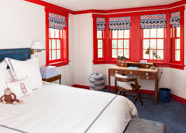 Bay Window Desk Red And Blue Boys Bedroom With Desk Under Bay Window