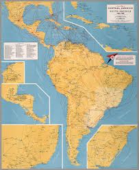 Map Of The South America by Airline Map Of Central America And South America 1961 1962