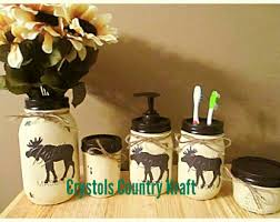 Moose Bathroom Accessories by Cotton Ball Jar Etsy