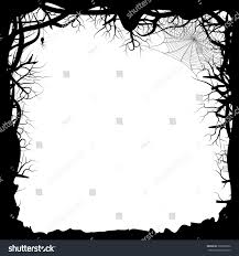 black and white halloween backgrounds vector illustration black silhouette forest branches stock vector