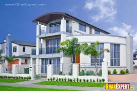 3 storey modern elevation with double height tower gharexpert
