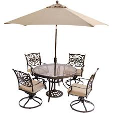 Martha Stewart 7 Piece Patio Dining Set - hanover 5 piece outdoor dining set with round glass table swivel