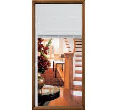 exterior door with blinds between glass decorative elements pella