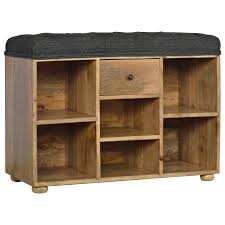 shoe storage bench with upholstered black tweed seat global
