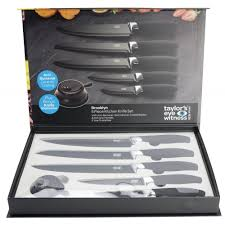taylor u0027s eye witness 5pc brooklyn titanium presentation knife set