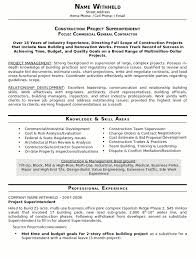 Resume Sample Construction Superindendent page   Career Resumes