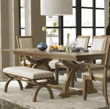 decor inspiring dining room furniture looks elegant with interesting natural wood rustic dining room tables with benches in comfortable beige cushion also parson chair