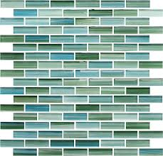 Kitchen Backsplash Samples Rip Curl Green And Blue Hand Painted Glass Subway Mosaic Tiles