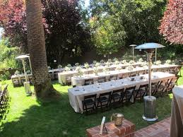Wedding Backyard Reception Ideas by Backyard Wedding With Rectangular Tables And Mahogany Wood Folding