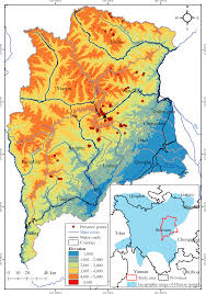 China Topographic Map by Predicting Suitable Habitat Of The Chinese Monal Lophophorus