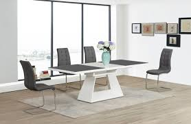 white extending high gloss grey glass dining table and 6 chairs