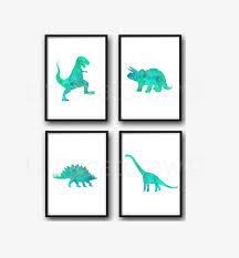 dinosaur print set of 4 teal green jurassic art prints watercolor