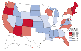 Color Coded Map Of Usa by State Estimates Of Past Year Cocaine Use Among Young Adults 2014