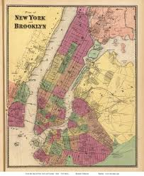 Brooklyn New York Map by New York City And Brooklyn New York 1868 Old Town Map Reprint